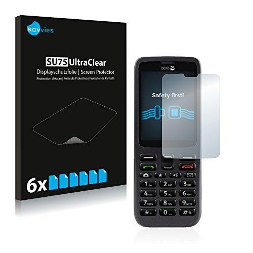 Savvies 6X Schutzfolie kompatibel mit Doro 5516 Bildschirmschutz-Folie Ultra-transparent