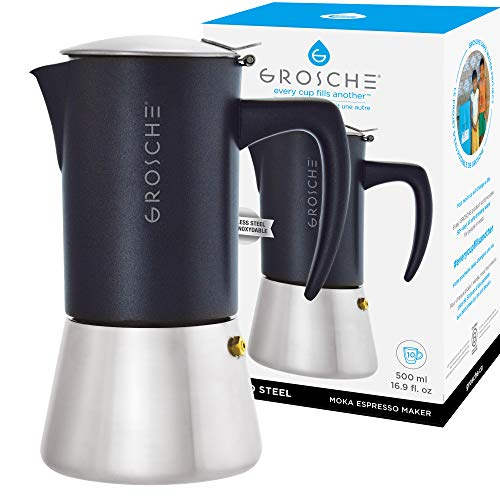 GROSCHE Milano Steel 10 espresso cup Stainless Steel Stovetop Espresso Maker Moka pot - Cuban Coffee maker Italian Espresso Greca coffee maker for Induction gas or electric stoves
