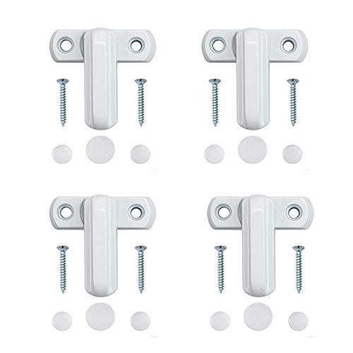 Neoteck Sicherheitsschloss für verschiedene UPVC-/PVC-Türen und Fenster, Zinkguss-Legierung, extra Sicherheit, weiß, 4-teilig