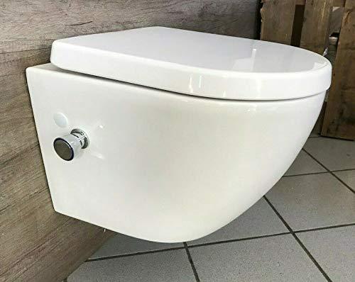 WC Spülrandlos Wand Hänge WC Taharet Dusch-WC Toilette Softclose inkl. Armatur L/B/H 48,5 x 36,5 x 33cm mit Bidet-Funktion Intimdusche homeforyou24