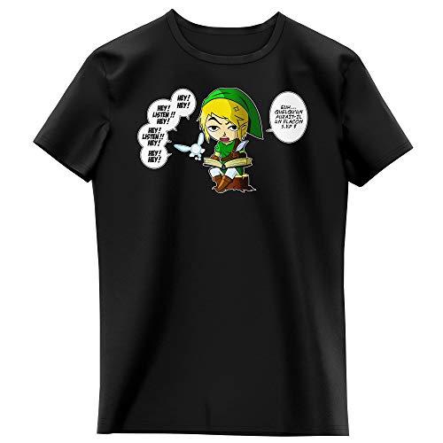 Okiwoki T-Shirt Enfant Fille Noir Parodie Zelda - Link et la Fée Navi - Une fée Pratique mais agaçante. (T-Shirt Enfant de qualité Premium de Taille 11-12 Ans - imprimé en France)