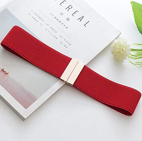 PANZZ Cinturones Anchos fajines Vestido de Cinturilla de cinturón de Hebilla de Oro Brillante decoran Cinturones de Dama, Color Rojo Dorado