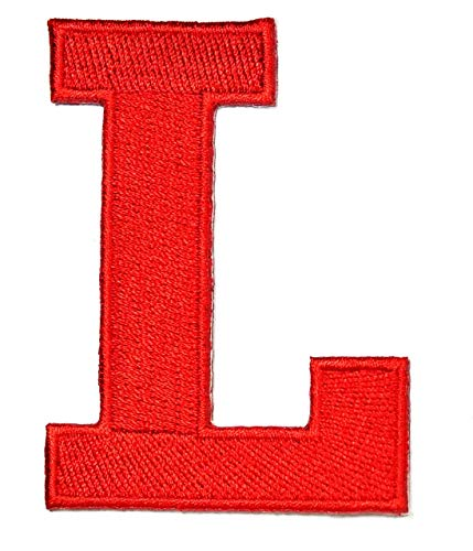 3 INCHES Red Letter L Patch Text Words English Alphabet Letters from A to Z Iron On Patches Embroidered Decorative Repair Jacket T-Shirt Hat Bag Clothing Stickers Badge Name Sewing (L)
