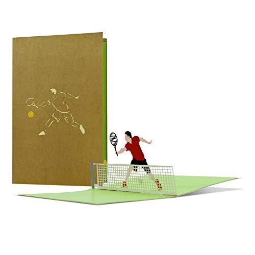 Geburtstagskarte Tennis mit 3D Pop-up |z.B. als sportlicher Geschenkgutscheinfür Tenniszubehör oder Tennisstunden, Tennis Geschenkidee lustig |H22