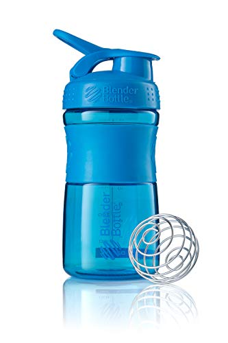 BlenderBottle SportMixer Tritan Grip Shaker Bottle, Cyan/Cyan, 20-Ounce