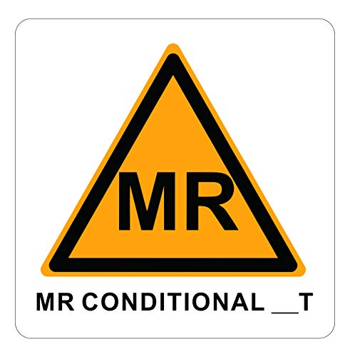 10-Pack MR Conditional Tesla Label MRI Conditional Vinyl Sticker for Radiology 4 x 4 inch Medium Waterproof Disinfectable …
