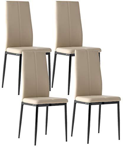 Miroytengo 4 sillas Polipiel Brea Color Capuchino Comedor salón cómodas y Estilo Moderno 98x42x47