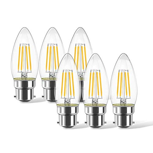 B22 Light Bulbs, 6Packs 6W LED Filament Candle Bulb, 6W C35 Bayonet Warm White 2700K 600Lm LED Bulbs, Non-Dimmable,Not Blinking, 60W Incandescent Replacement Retro Bulb[Energy Class A++]
