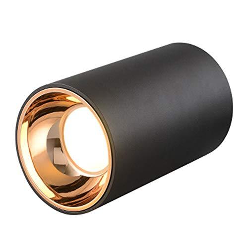 JminJC Led-Deckenleuchte Aufputz-Downlight Einfache Wohnzimmer-Hintergrundwand Haushaltsscheinwerfer,Black-75MM10W-WarmLight