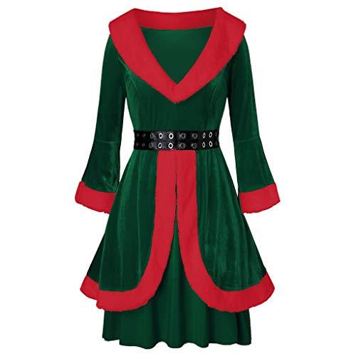 Weihnachten Kleider Damen Langarm Samt Partykleid mit Gürtel Weihnachtsmann Kostüm Santa Claus Kostüm Weihnachtskleider Weihnachtsfrau Midi Kleid Vintage Brautkleid Cocktailkleid Rockabilly Geschenk