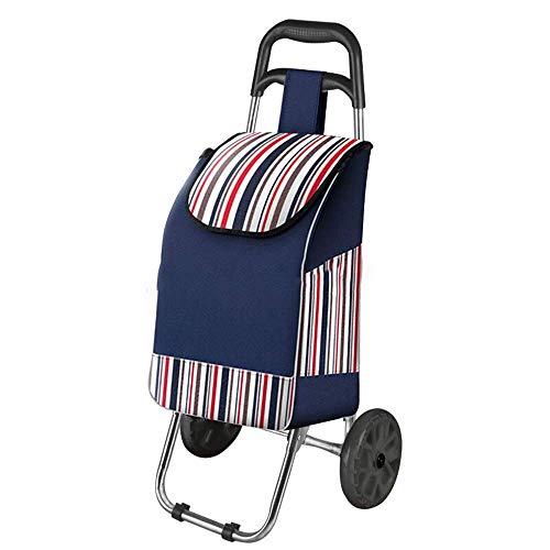 FANMENGY Carro de la compra plegable ligero carrito de la compra, bolsa de tela Oxford impresa a rayas, carrito de acero con 2 ruedas para el hogar, carrito de la compra ligero (color: B