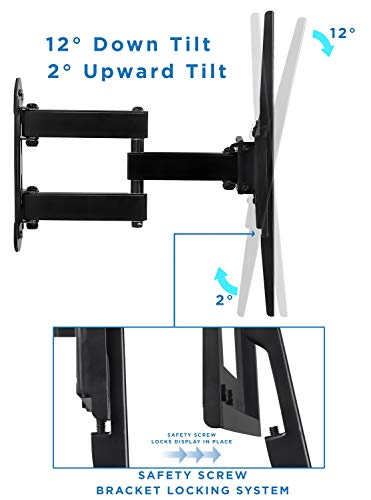 Mount-It! Full Motion TV Wall Mount Corner Bracket, VESA 400 x 400 Compatible, Extending Arm Articulating, Swivel, Tilt Fits 32, 37, 40, 42, 47, 50 Inch TVs, 66 Lbs Capacity Black