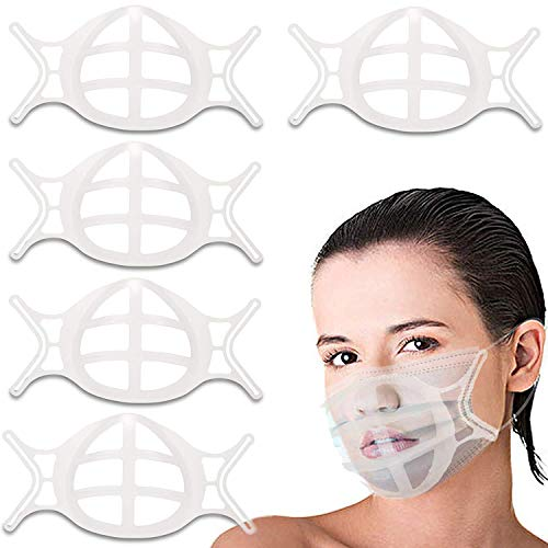 5 PCS 3D Inner Support Silicone Bracket for Mask Cool Lipstick Protector Stand Nose Protection Lipstick ,Reusable&Washable (white)