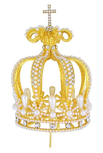 SFI Religious Gold Toned Crown Toppers with Decorative Rhinestone Beads, 3 Inch (Imitation Pearl)
