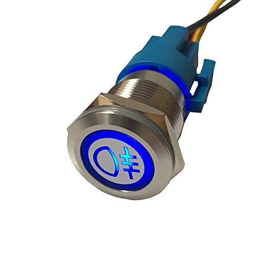 Mintice rostfreier Stahl 19mm KFZ Kippschalter Wippschalter Druckschalter Schalter Drucktaster 12V Blau LED Licht Metall Nebelschlussleuchte Steckdose Stecker