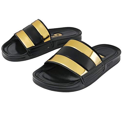 H2O Damen Badelatschen New Icon Sandal schwarz/Gold - 8/42