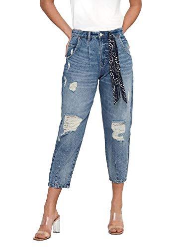 ONLY Damen ONLVERNA Life VIN Balloon HW DNM BJ349 Jeans, Medium Blue Denim, L / 32