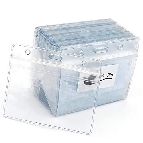 Tarjetas de identificación 50pcs claro plástico horizontales Nombre etiqueta Badge Id Tarjeta