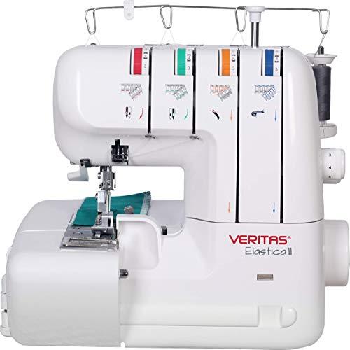 VERITAS Elastica - vielseitige Overlock Nähmaschine für perfekte 2, 3 oder 4-Faden-Nähte zum Nähen, Säumen und Schneiden in einem Arbeitsgang