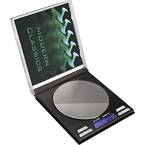 BLscale - Báscula digital de CD, báscula de cocina, de bolsillo, para joyas, 0,01 g - 50 g, pantalla LCD, cubierta intercambiable, funda de piel, 4 unidades de pesaje, Blackleaf