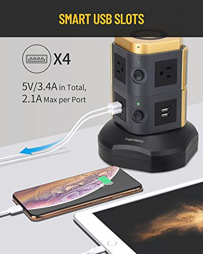 SUPERDANNY Power Strip Tower with 10W Wireless Charger, Spin Standing Surge Protector 3000W 13A Vertical Charging Station with 6 AC Outlets+4 USB Ports and 6.5ft Extension Cord for Home Office Garage