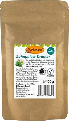 Birkengold Zahnpulver Kräuter Nachfüllbeutel 100 G | Schützt Den Zahnschmelz | 100% Natürliche Zutaten | Keine Schaumbildner Und Konservierungsstoffe | Naturkosmetik | Vegan