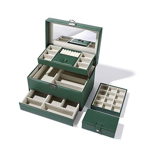 Joyero, Caja para Joyas con Espejo Y Cajones Estuche De Joyas para Pendientes Collares Pulseras Relojes, Estuche De Viaje PortáTil, Regalo Almacenamiento (Color : Dark Green)