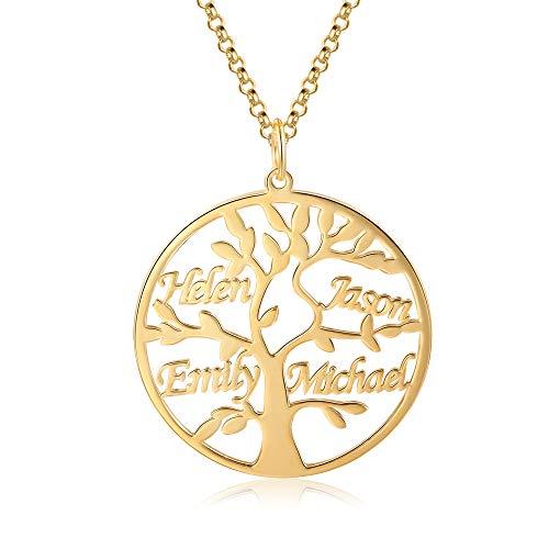 Jessemade Namenskette 925 Sterling Silber Personalisierte Namen Lebensbaum Halskette Stammbaum des Lebens Anhänger mit Gravur 1-9 Namen Mutter BFF Familien Schmuck Geschenk