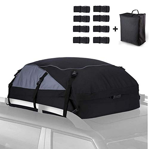 supertop Car Roof Bag - 350L 600D Cargo Carrier Bag - With 8 Reinforced Straps - Waterproof Rooftop Cargo Carrier,Roof Boxs - For Off-road Vehicles Cars (With storage bag)