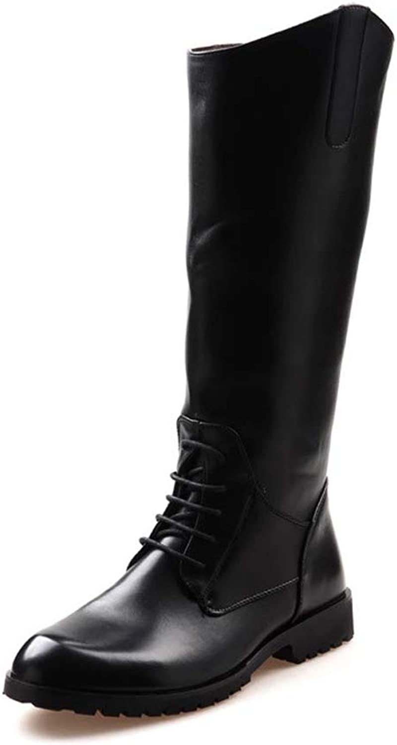 Men's Motorcycle Boots Casual High Barrel Lace Up Zipper Function British Style Knee High Boot