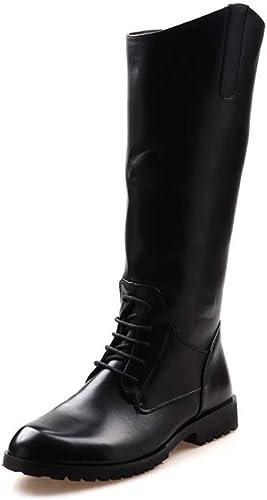 JIALUN-zapatos zapatos de Moda para Hombre botas de Motocicleta botas Altas de Barril con Cordones Función de Cremallera Estilo británico Rodilla botas Altas