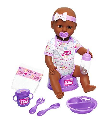 Simba 105030060 New Born Baby Puppe, Mit Schlafaugen, Trink, und Nässfunktion, 8 Teile, 43cm