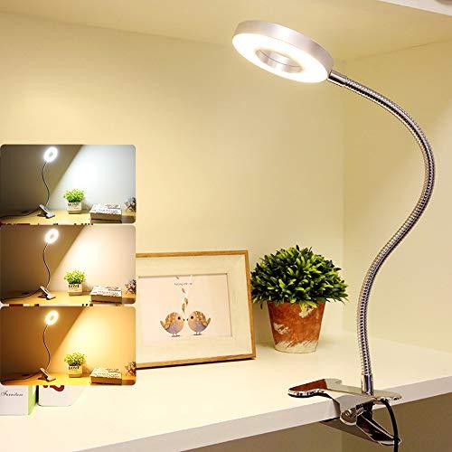 Depuley Leselampe Buch Klemme, LED Klemmlampe Dimmbar Silber mit 3 Farbmodi, 10 Heilligkeit, 360° Flexibler Schwanenhals, 6W, USB Klemmleuchte Kinderzimmer, Nachttischlampe Bett für die Jugend Lesen