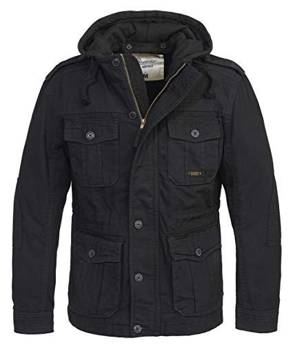 Brandit Urban Vintage Parka Sweathood Jacke (Black-Black, 5XL)
