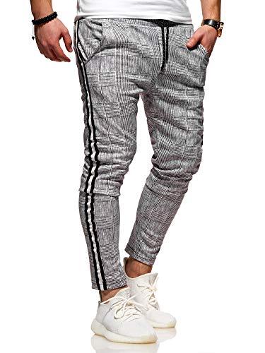 Rello & Reese Herren Jogger-Hose Stripe Slim Fit Hose JN-1208 [Grau, L]
