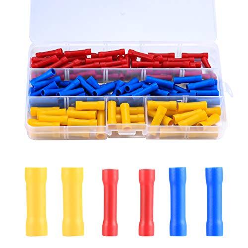 120 Stück Stoßverbinder Set, Quetschverbinder Kit, Elektrische Isoliert Stossverbinder Kabelverbinder, Kabelschuhe Rundsteckhülsen Set für Kabel - Rot/Gelb/Blau