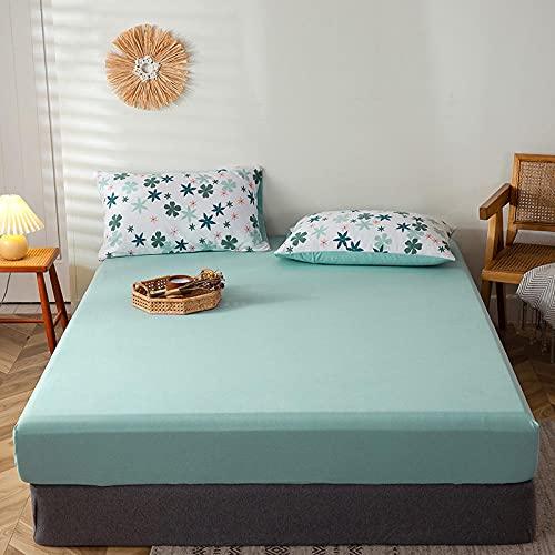 FFLDM Cubre colchón,Sábanas bajeras 100% algodón de Color sólido para Hombre, Protectores de colchón Antideslizantes Individuales y Dobles-L_150 * 200 + 25cm
