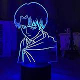 キャプテンLevi AckermanフィギュアLEDナイトライトキッズ子供の寝室の装飾ナイトライトカラフルテーブルランプ進撃の巨人ギフト