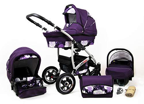 Kinderwagen 3in1 2in1 Set Isofix Buggy Babywanne Autositz New L-Go by SaintBaby Lila & Blumen 3in1 mit Babyschale