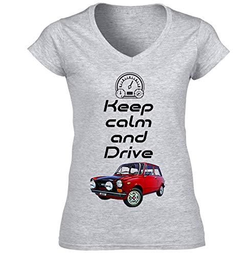 Teesandengines Autobianchi A112 Abarth Keep Calm Camiseta para Mujer de Algodon Size Xxlarge