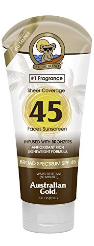 Australian Gold Premium Coverage Facial Sunscreen Lotion SPF 45, 3 Ounce | Infused with Bronzers | Broad Spectrum | Water Resistant