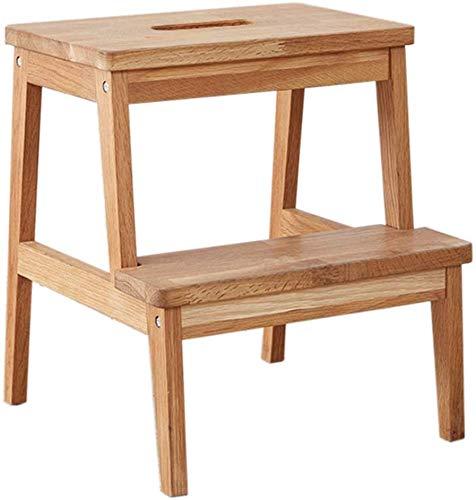 STOOL Escabeaux, escabeaux, escabeaux   Échelle à 2 marches en chêne   Antidérapant   Chaise pliante de mode en bois massif multifonction   Garage Chambre Cuisine   Facile à ranger   40 × 40 × 45 cm