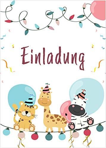 schildgetier Einladung Tiere - 12 Einladungskarten Geburtstag Kinder mit 12 Umschlägen Mädchen Jungen DIN A5 Partyeinladung Kindergeburtstag Erwachsene Familie