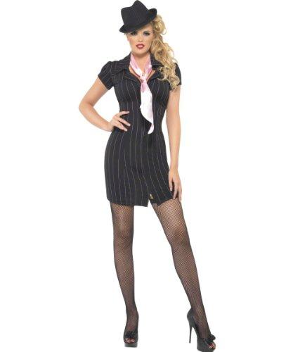 Smiffys, Damen Gangster Lady Kostüm, Nadelstreifen-Kleid und Halstuch, Größe: M, 30457