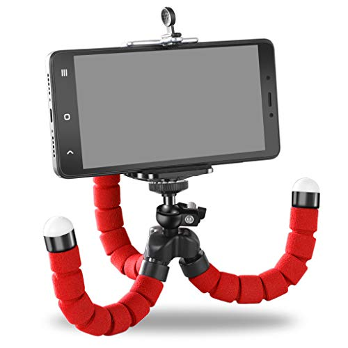 Xiao Jian - mobiele telefoonhouder - Octopus mobiele telefoon statief mini mobiele telefoon camera driehoek houder luider universeel draagbare video-ontspanner verticale houder Rood
