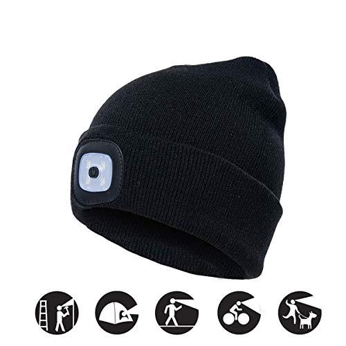 COTOP Strickmütze mit Licht,USB Nachladbare LED Mütze Hut, Unisex Winterwärmer Strickkappe mit 3 Helligkeitsstufen für Wandern in der Nacht, Laufen, Dog Walking, Radfahren