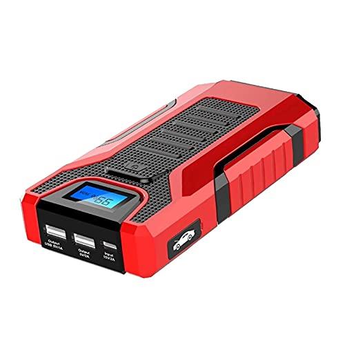 Arrancador de Batería de Coche Booster De Batería Automática De 12V 12000mAh con 2 USB Puertos De Carga Digital LCD Monitor DIRIGIÓ Linterna Fácil de Conectar (Color : Red, Size : 12000mAh)