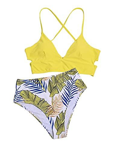 MakeMeChic Bikini de 2 Piezas con Cordones y Cintura Alta Tribal para Mujer, Amarillo, M