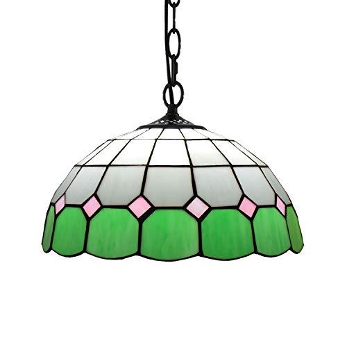 YALIXING Candelabros de Color - 12'Tiffany Pendant Light Pastoral Pastoral Colgante Lámpara de Luz de Vidrio para Bedroom Restaurant Café Luces Creativas de decoración del hogar