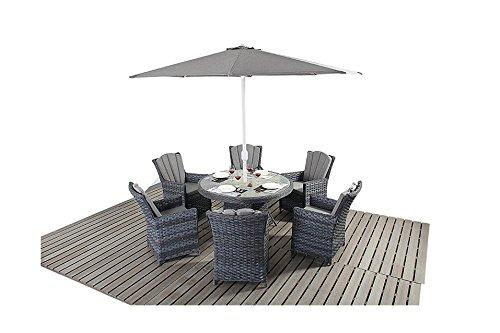 Oak Furniture House Manhattan Set di mobili da Giardino a 6posti, Tavolo Sedia in Rattan Grigio